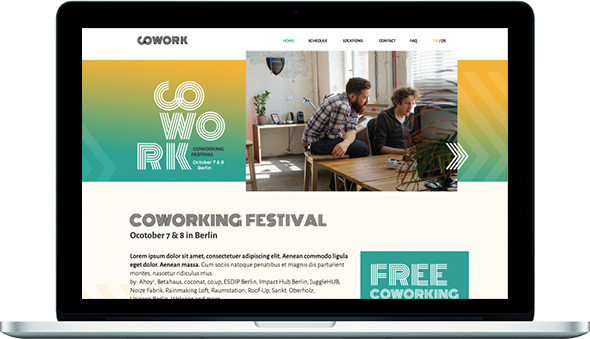 Coworking Festival Webseite