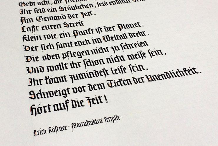 Zeit Kästner Manufraktur scripsit